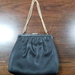 Vintage Black Satin Handbag with Gold Chain Detail